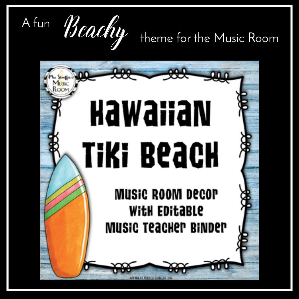 Hawaiian Tiki Beach Music Room Decor